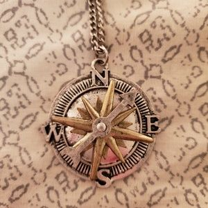 Two-tone compass necklace